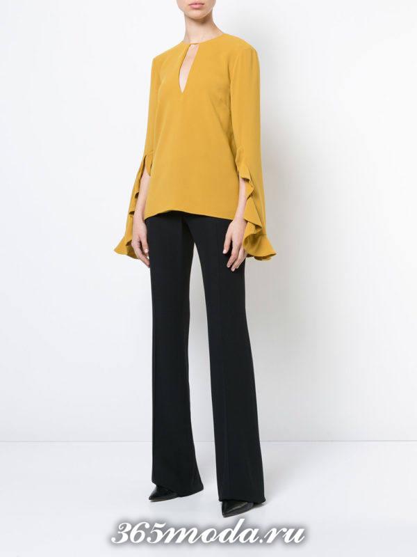горчичная блуза осень-зима