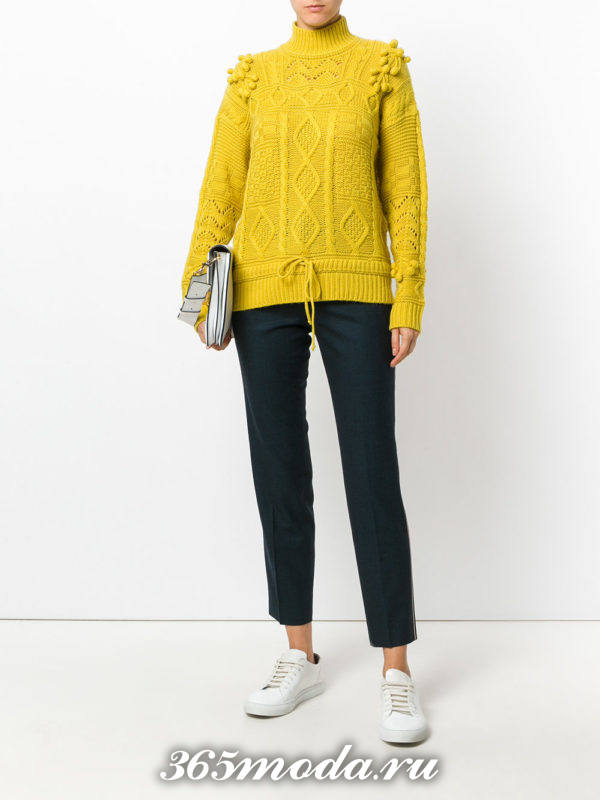 горчичный вязаный свитер осень-зима
