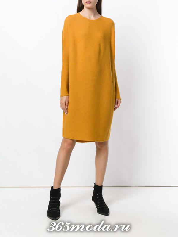 горчичное платье свитер осень-зима