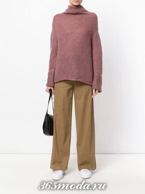 сиреневый свитер оверсайз осень-зима