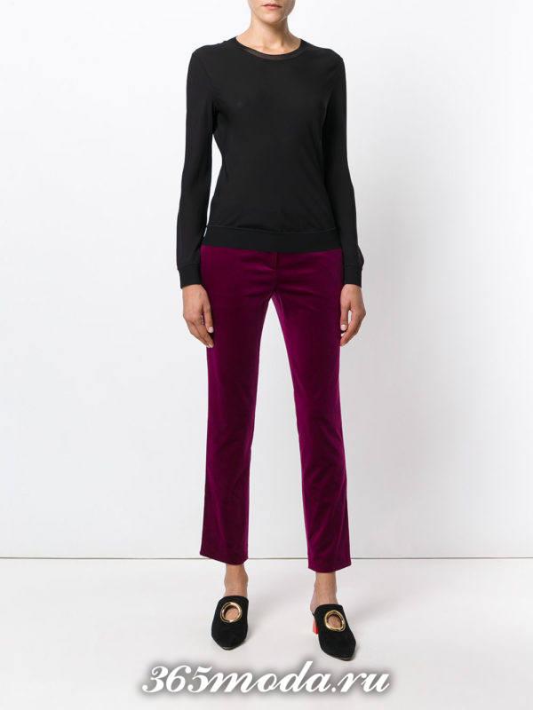 сиреневые бархатные брюки осень-зима