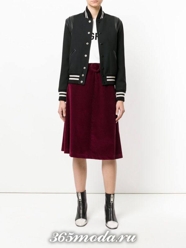 сиреневая бархатная юбка осень-зима