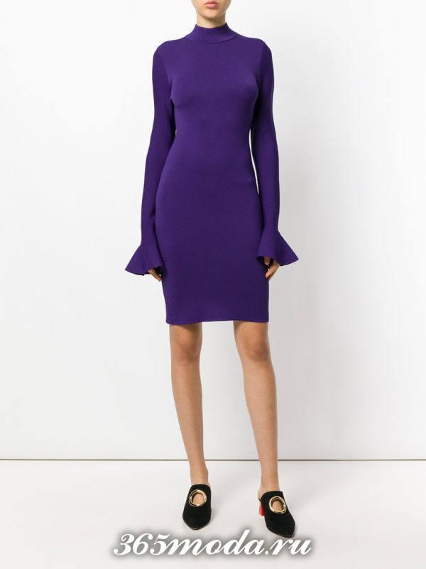 сиреневое платье футляр осень-зима