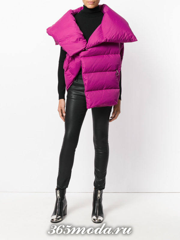 сиреневый асимметричный жилет осень-зима