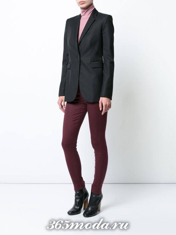 сиреневые брюки скинни осень-зима