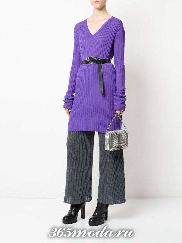 сиреневая свитер-туника осень-зима