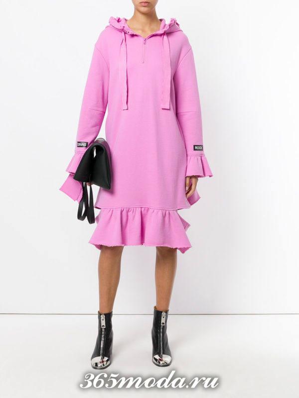 сиреневое платье с воланами осень-зима