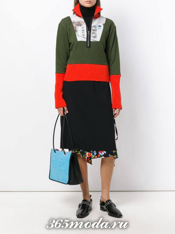 оливковый комбинированный свитер осень-зима