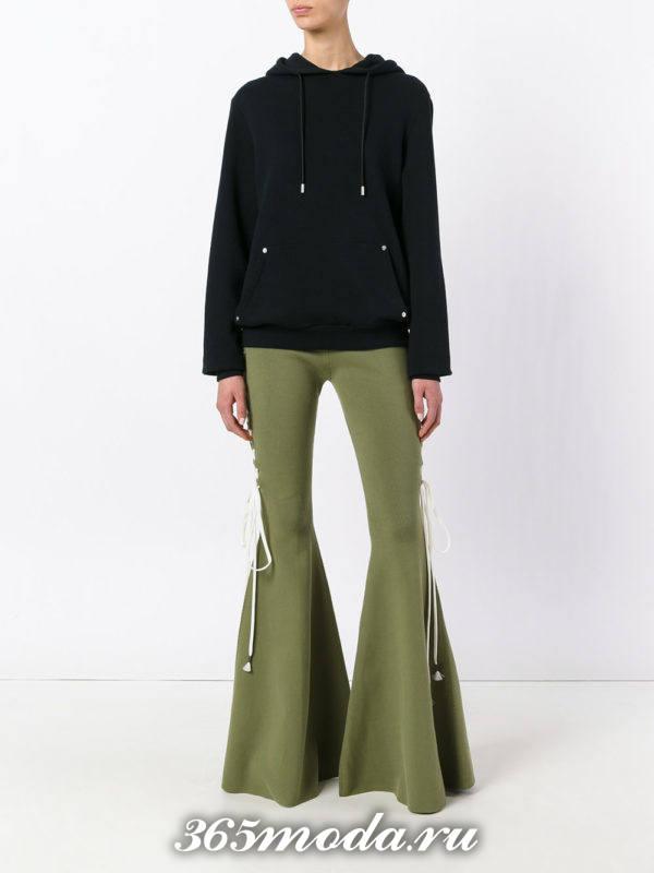 оливковые брюки клеш осень-зима