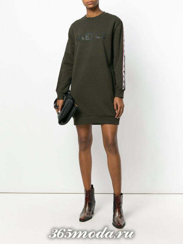 оливковое платье туника осень-зима