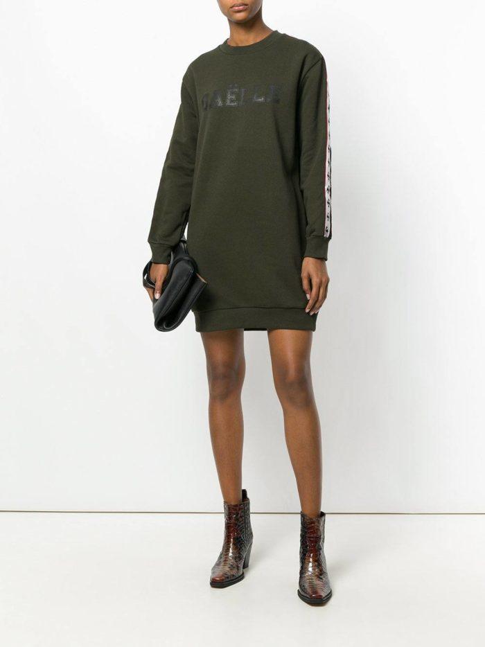 оливковое платье туника