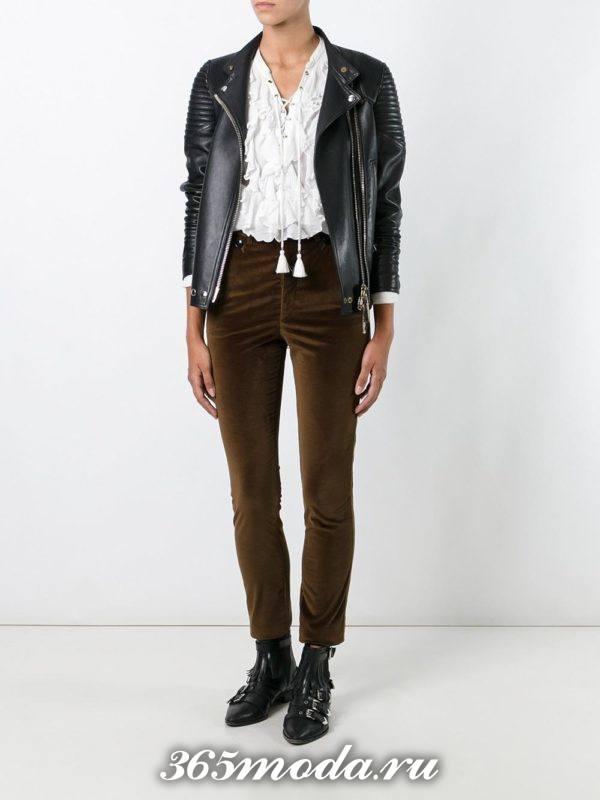 оливковые бархатные брюки осень-зима