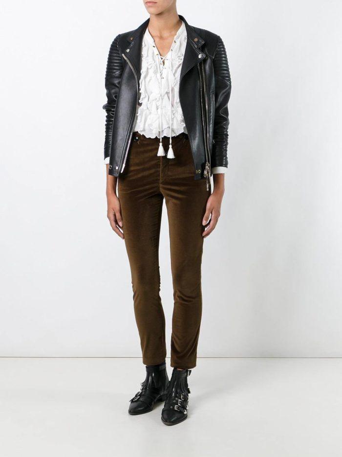 оливковые бархатные брюки