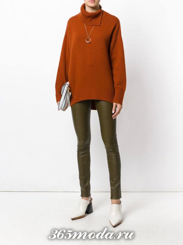 оливковые брюки скинни осень-зима