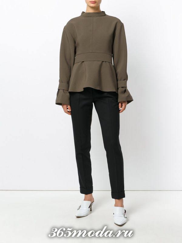 оливковая блуза с баской осень-зима