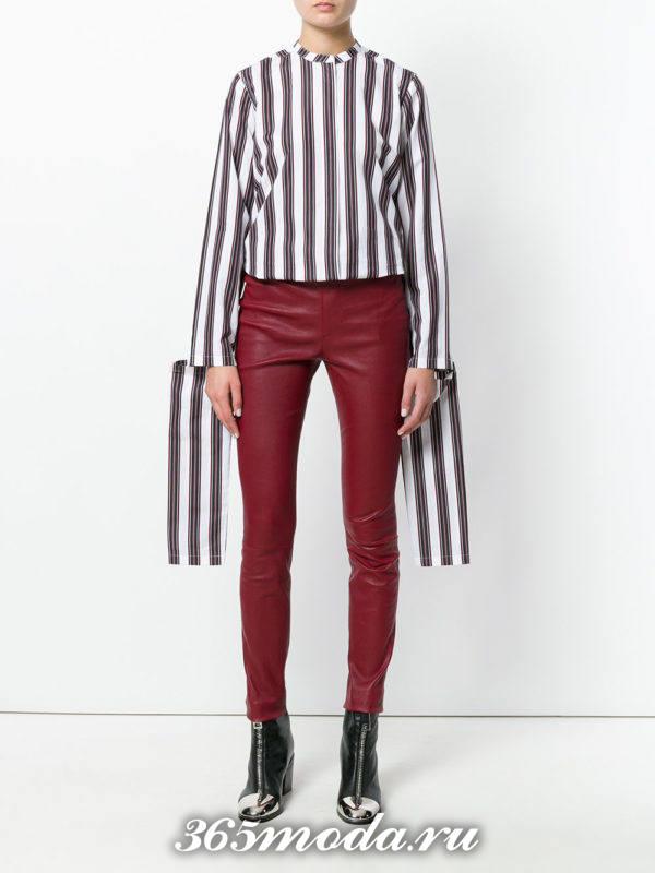 модный лук с бордовыми кожаными брюками осень-зима