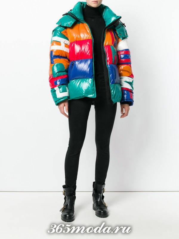 модный разноцветный пуховик осень-зима