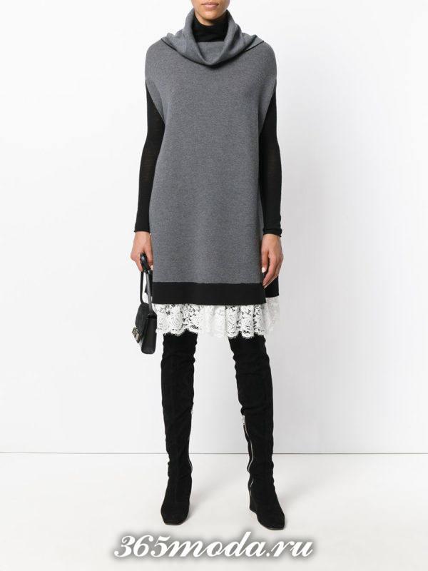 серое трикотажное платье осень-зима