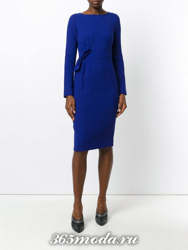 модное синее платье футляр осень-зима