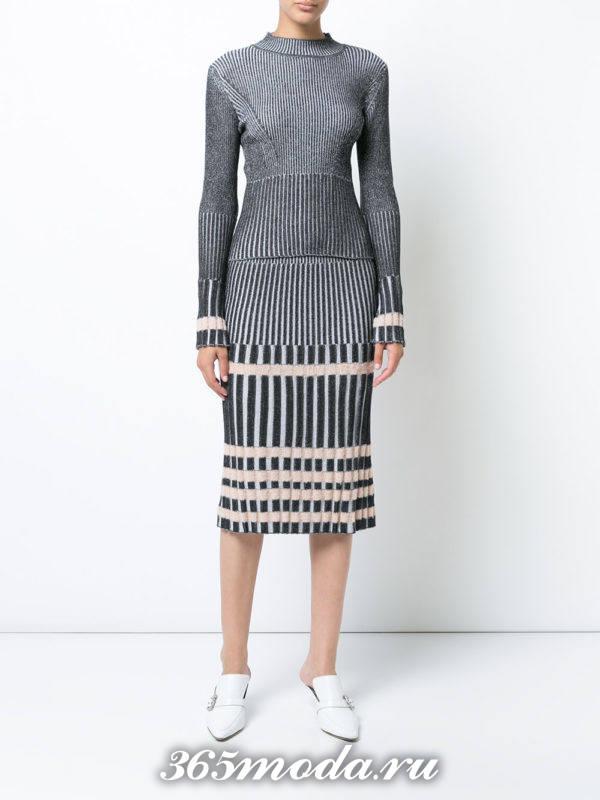серый юбочный костюм осень-зима