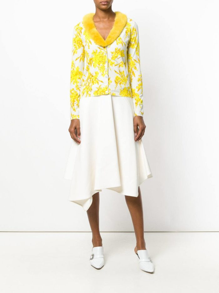 модные кардиганы: с меховым желтым воротником и желтым принтом
