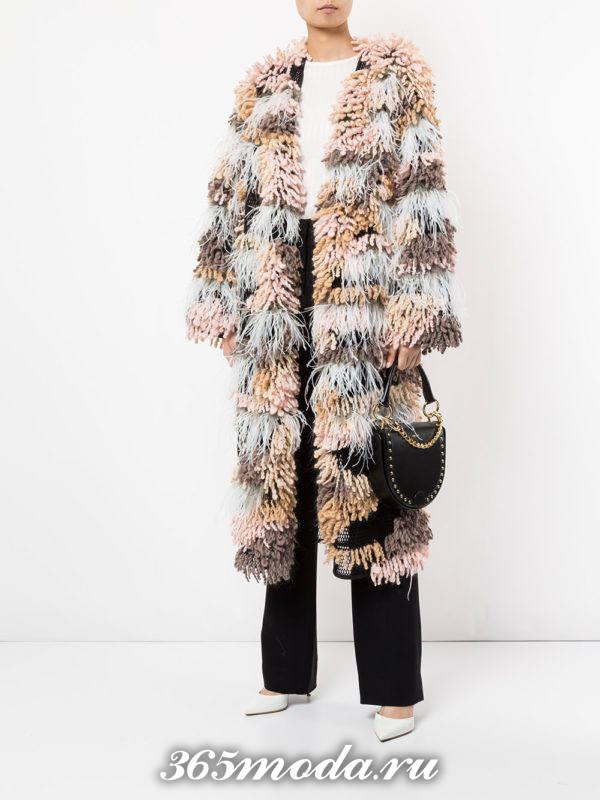 модные кардиганы: меховой разноцветный длинный