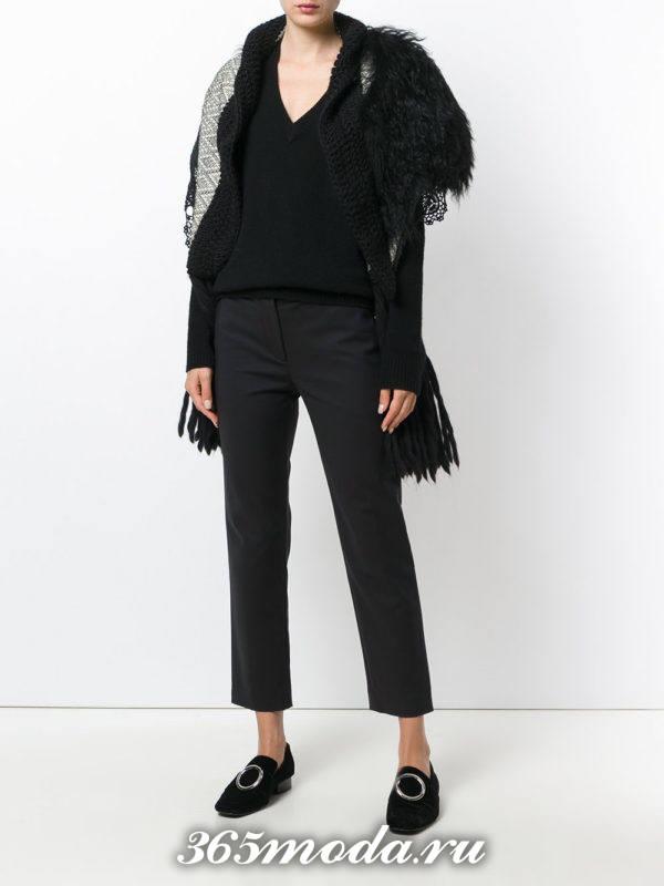 модные кардиганы: черный с меховым воротником
