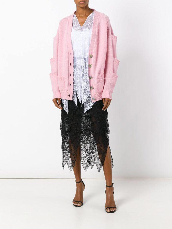 свободного кроя розовый на пуговицах