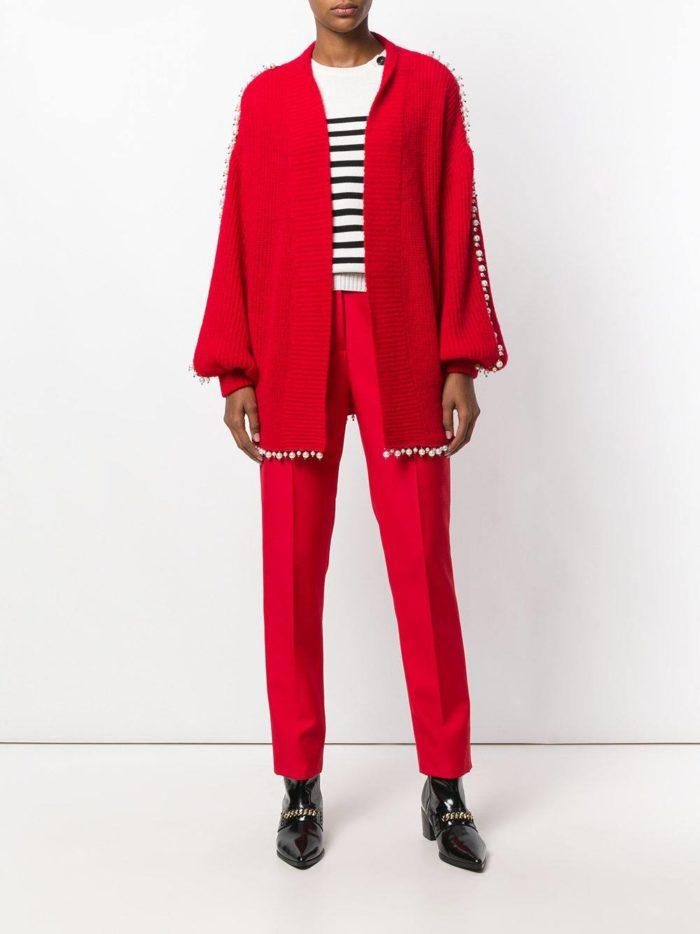 модные кардиганы: без застежек красный длинные рукава