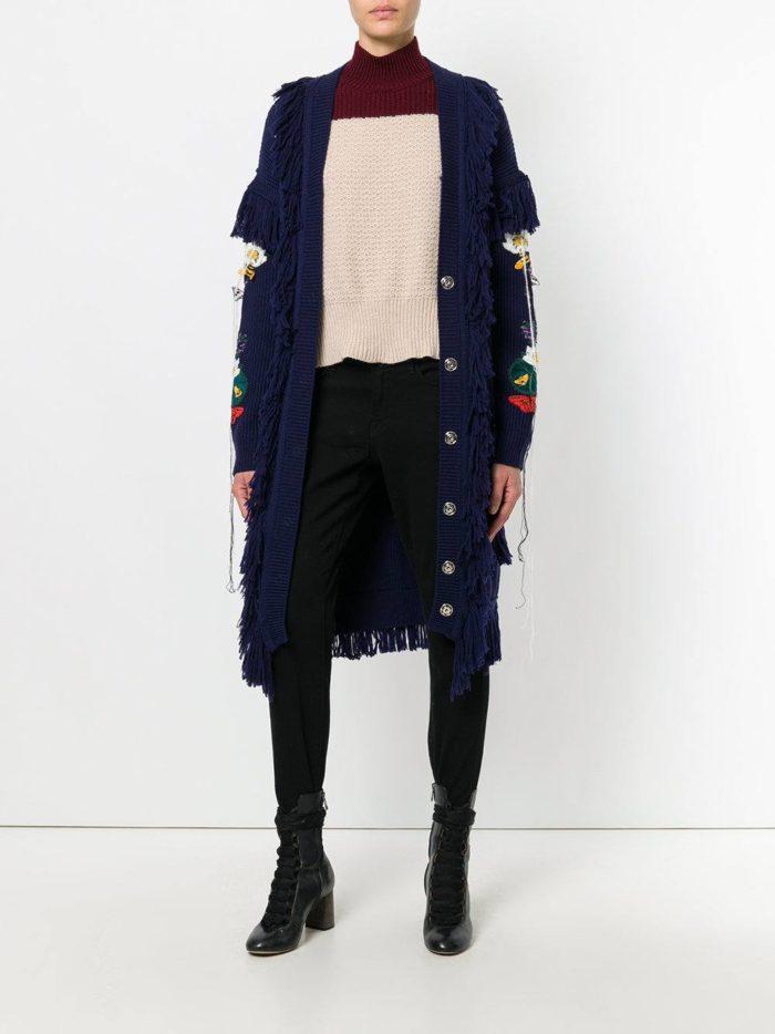 модные кардиганы: на пуговицах длинный темно-синий
