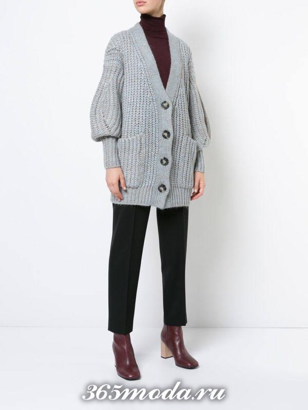 модные кардиганы: на пуговицах серый вязаный