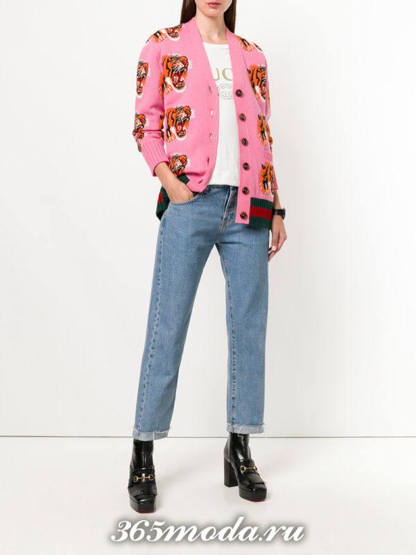 модные кардиганы: на пуговицах розовый с принтом тигра