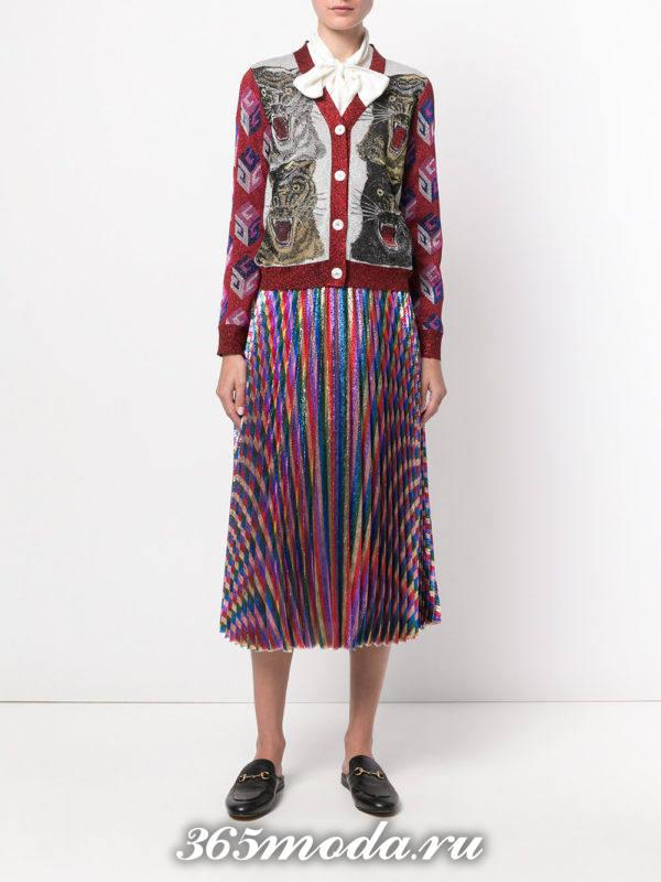 модные кардиганы: на пуговицах яркий с принтом