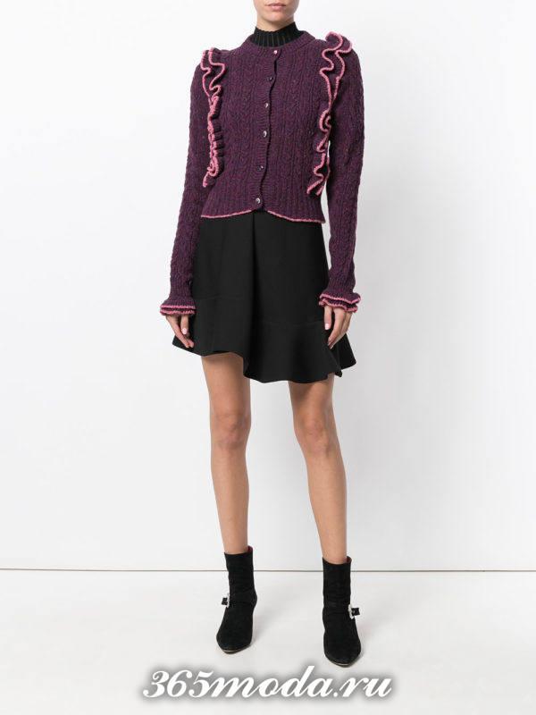 модные кардиганы: темно-фиолетовый на пуговицах с декором