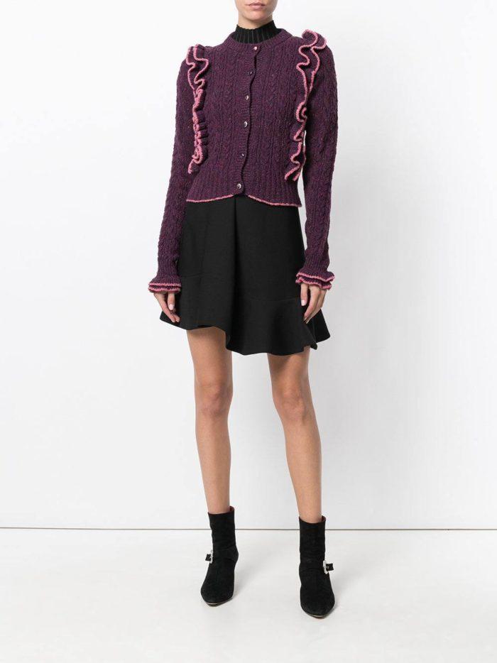 темно-фиолетовый на пуговицах с декором