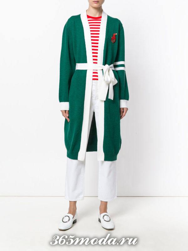 модные кардиганы: трикотажный зеленый с поясом