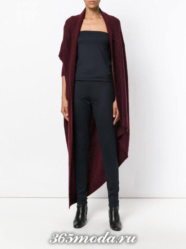 модные кардиганы: трикотажный асимметричный темно-бордовый