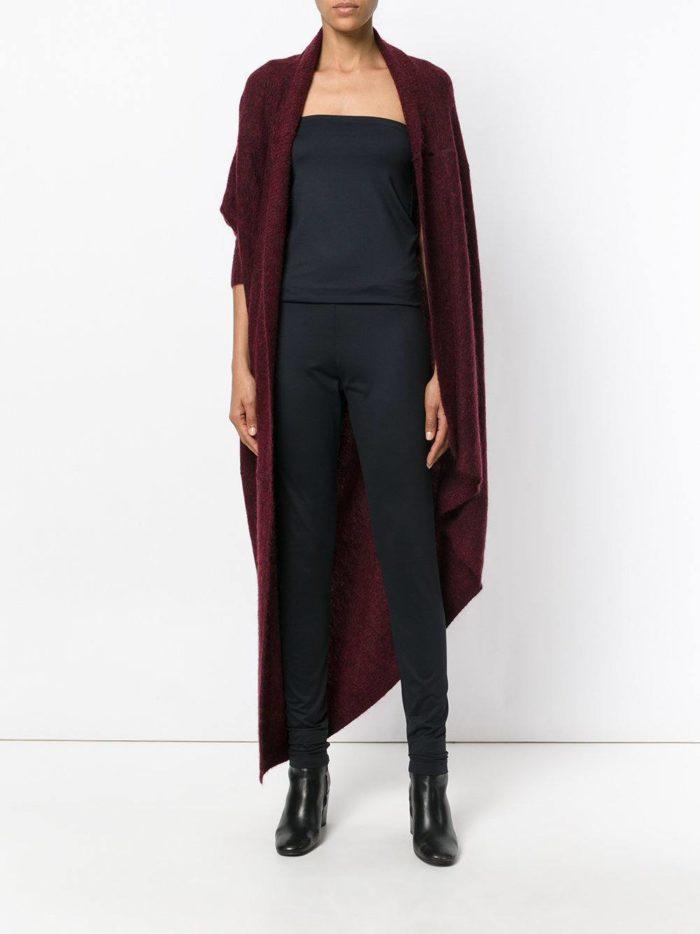 трикотажный асимметричный темно-бордовый