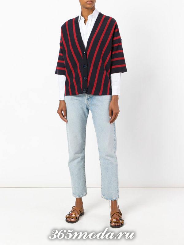 модные кардиганы: трикотажный полосатый
