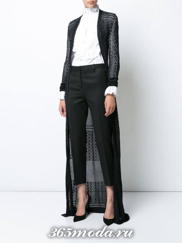модные кардиганы: ажурный длинный темного цвета