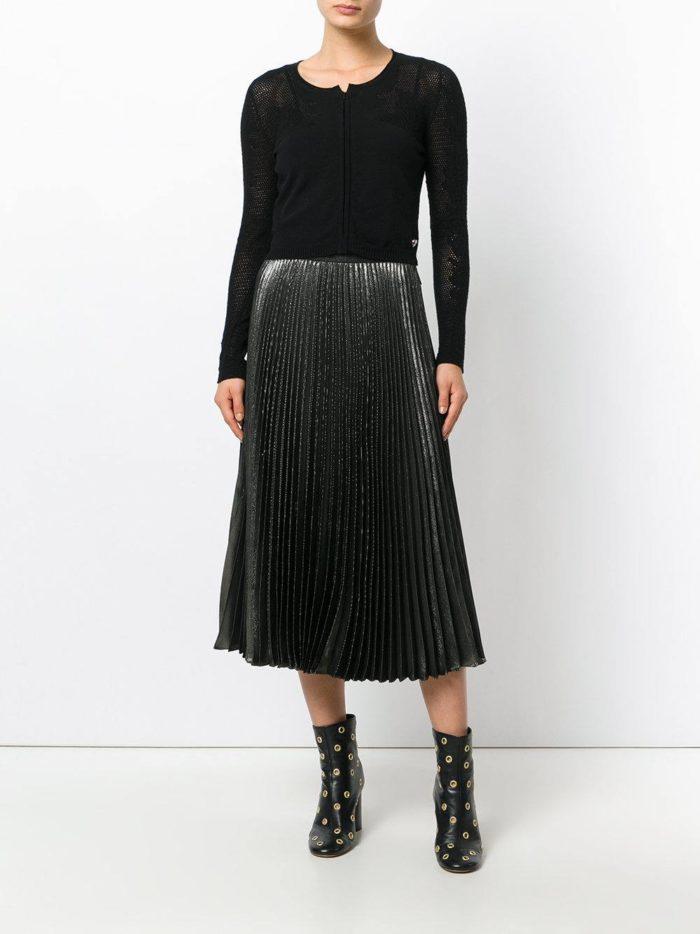 модные кардиганы: ажурный черный модный с укороченной талией