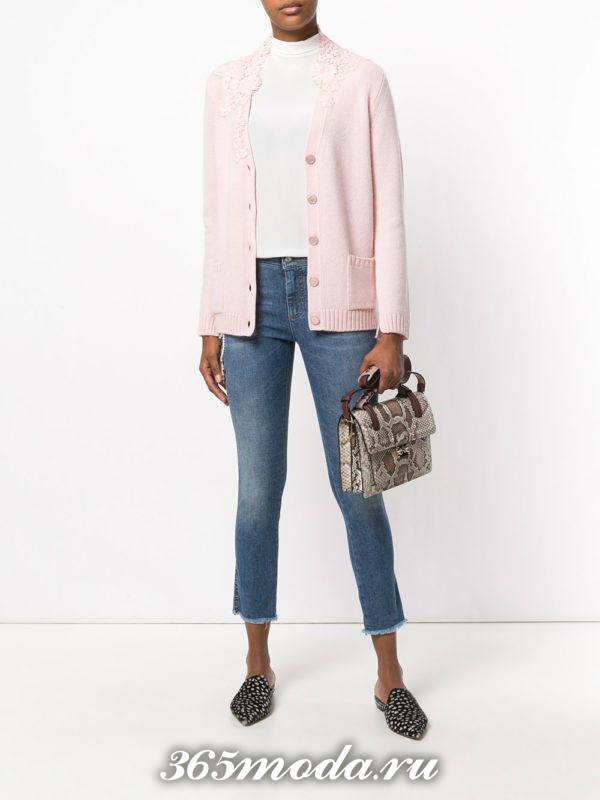 модные кардиганы: ажурный светло-розовый