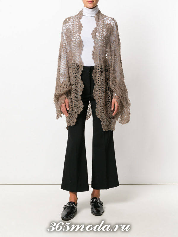 модные кардиганы: ажурный коричневый