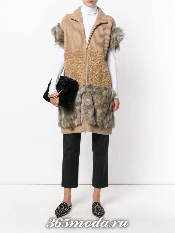 модные кардиганы: жилет с мехом комбинированный