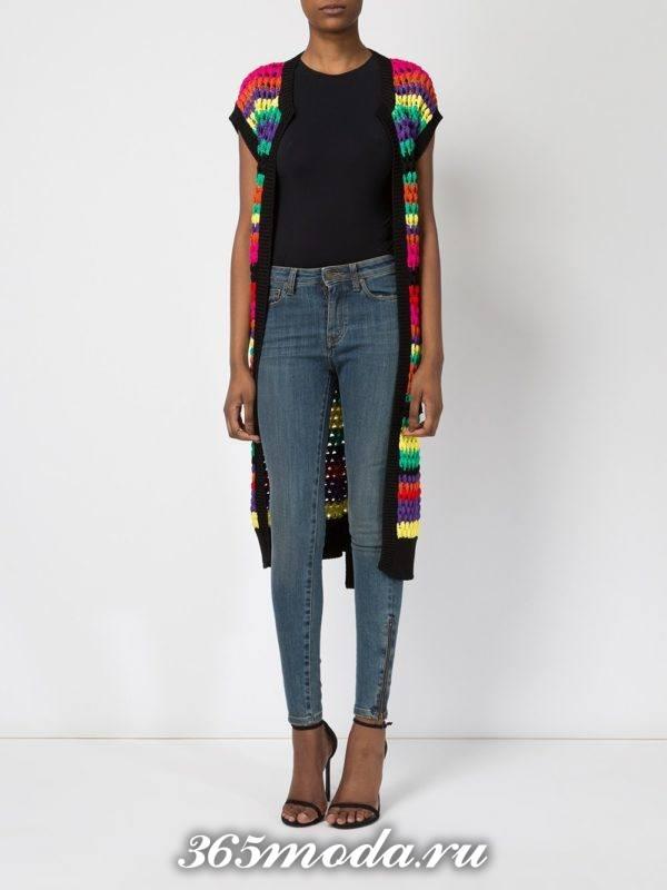 модные кардиганы: жилет разноцветный длинный