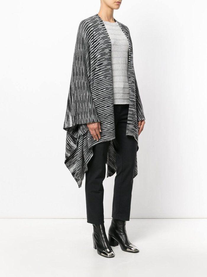 модные кардиганы: летучая мышь модный с черными полосками