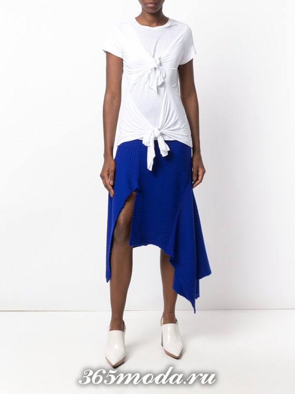 сочетания синегй юбки с белым верхом