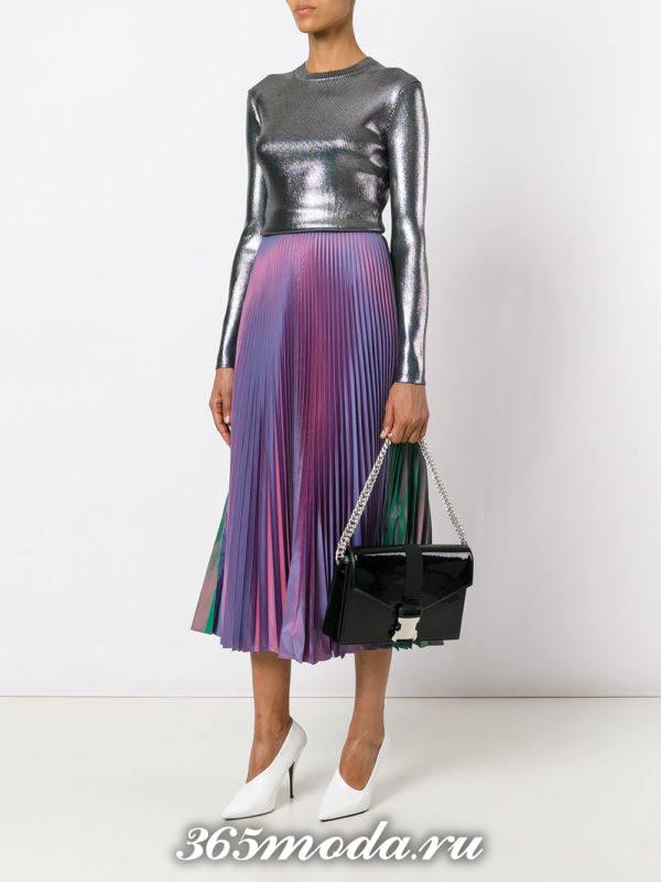 сочетания сине-фиолетовая юбка плиссе