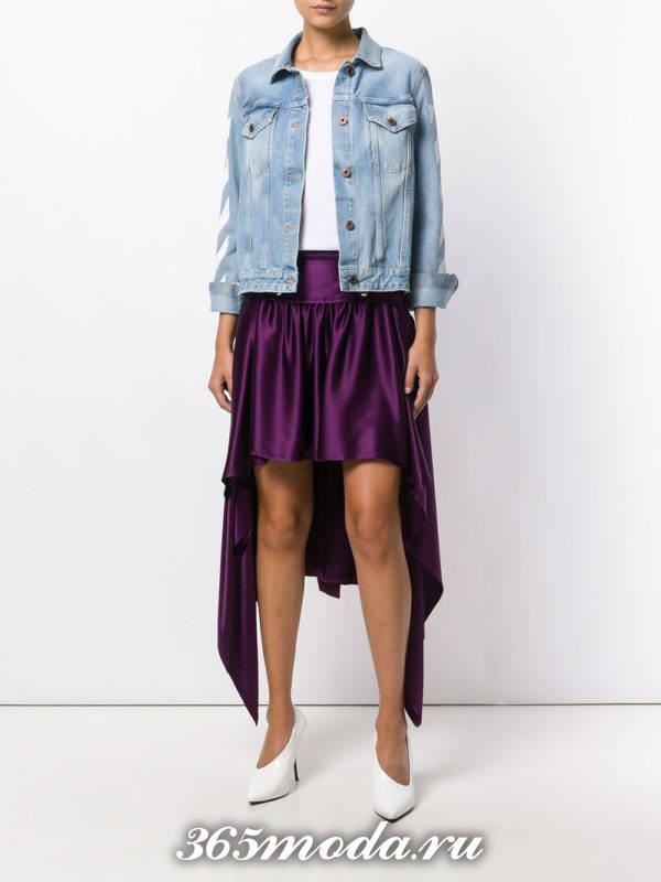 сочетания синей джинсовой куртки с фиолетовой юбкой