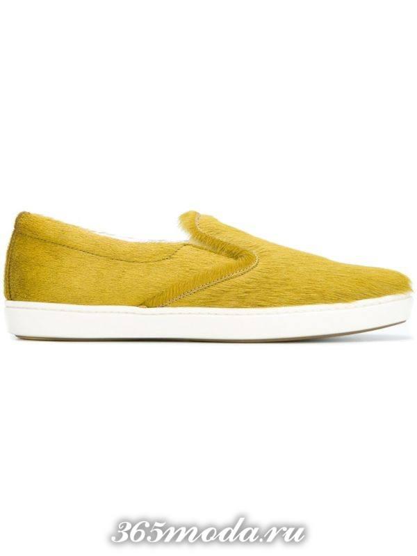 модные женские слипоны желтые